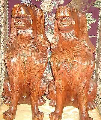 Antique Beautifully Carved and Detailed Mahogany Fireplace Dogs (2) 11