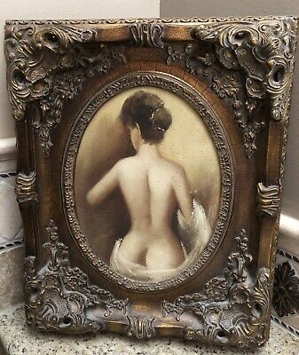 Lot Of Two Vintage Antique Style Ladies Mid Century Nude Portraits/Paintings 2