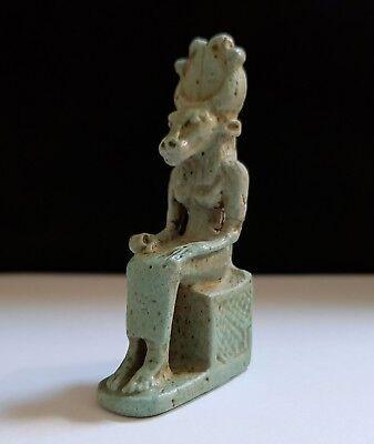 Rare Egyptian Glazed Faience Seated Figure of Mehet - Weret