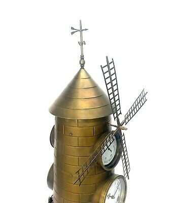 """32"""" Tall Large French Style 8 Day Brass Automaton Windmill Industrial Clock 6"""