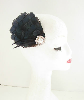 Green Ivory Lady Amherst Pheasant Peacock Feather Hair Clip Fascinator Pin 706