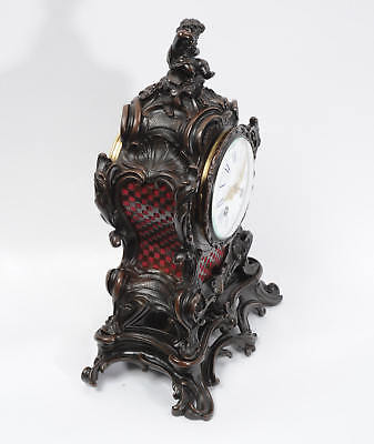 Japy Freres Antique French Bronze Rococo Table Clock Music Fully Working C1890 7