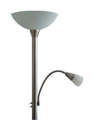 LED Deckenfluter 24 Watt Standlampe Lesearm Büro Arbeitszimmer HxD 184x30 cm