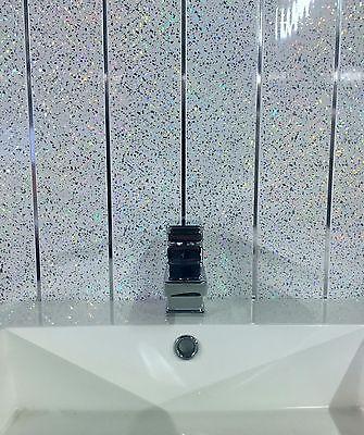 WHITE SPARKLE & Chrome Glitter 8mm Bathroom Cladding ...