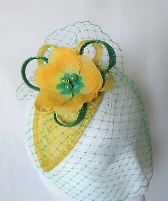 Canary Daffodil Yellow & Emerald Green Fascinator Headpiece Wedding Ascot Races 6