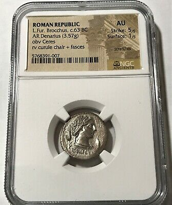 NGC Certified, Ancient Roman Republic, L. Fur. Brocchus, AR Denarius. c.63 BC. 3
