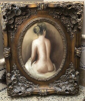 Lot Of Two Vintage Antique Style Ladies Mid Century Nude Portraits/Paintings 3