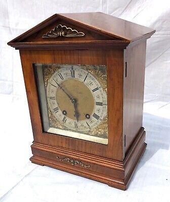 ~ Antique Architectural LENZKIRCH Walnut TING TANG Bracket Mantel Clock WORKING 2