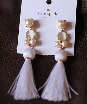 53dfd0d031406 KATE SPADE IN the swing of things tassel earrings fringe White jewels  chandelier