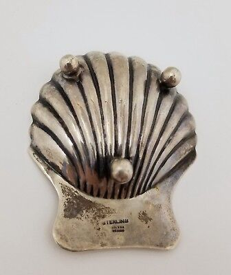 Mexico 925 Sterling Silver Seashell Scallop Clam Shell Footed Ashtray Dish 2