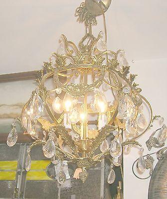 Reduced!! Fabulous Embossed Brass&Crystal  Chandelier Nashville Architect. Salv. 4