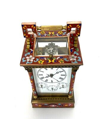 French Style Floral Red Enamel Brass 8 Day Repeater Calendar Carriage Clock 7