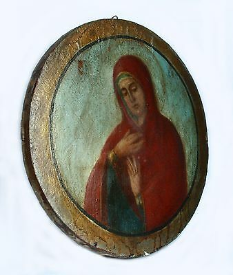 """Antique 19th C Russian Orthodox Hand Painted Round Icon """"Assuage my Sorrows"""""""
