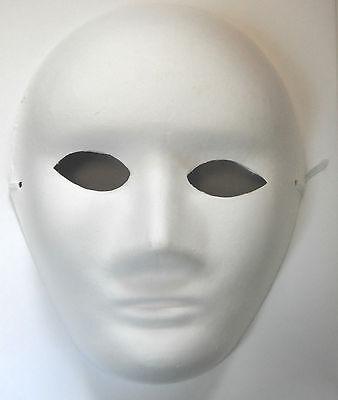 FULL WHITE FACE MASK PLAIN MASKS FANCY DRESS Hallowen MASQUERADE PARTY JOB LOT