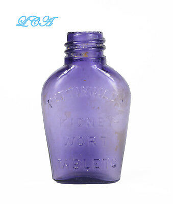 Little PURE purple KIDNEY-WORT TABLETS antique PETTINGILL'S bottle handblown BIM 3