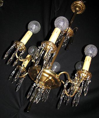 Vintage Art Deco Victorian Brass Crystals Chandelier Ceiling Light Fixture 20's 12