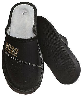 """Herren """"BOSS"""" Hausschuhe aus LEDER Pantoffeln Latschen Pantoletten Gr. 32-50 NEU 10"""