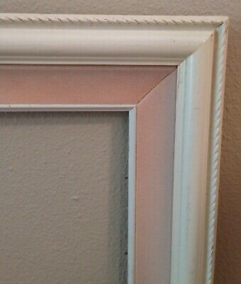"Vintage Wooden Picture Frame Ornate Corners Shabby Chic 25.5"" x 21.5"" Pink White 3"