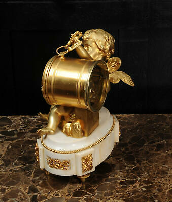ORMOLU & WHITE MARBLE ANTIQUE FRENCH CLOCK PUTTO in CLOUDS PLAYING a DRUM C1880 3