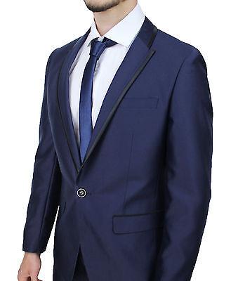 dbb6f76677 ... Abito Completo Uomo Sartoriale Blu Slim Fit Aderente Smoking Elegante  In Raso 4