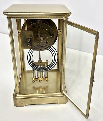 Antique Four Glass Brass Striking Bracket Mantel Clock Brass Japy Freres 9