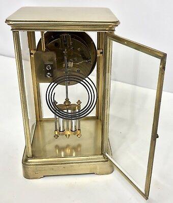 # Antique Four Glass Brass Striking Bracket Mantel Clock Brass Japy Freres 7