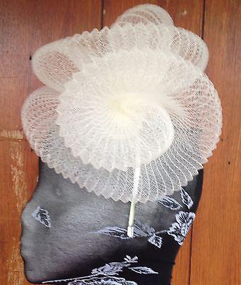 Ivory fascinator millinery burlesque wedding hat hair piece ascot race bridal 3