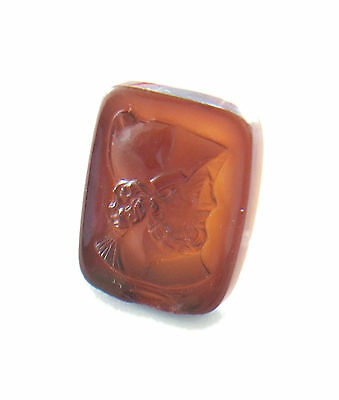 Antique Roman Glass Convex Intaglio - Hand Carved - Italy - Late 19th Century