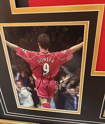 Luxury Robbie Fowler Signed Photo Picture with Shirt Jersey Autographed Display 2