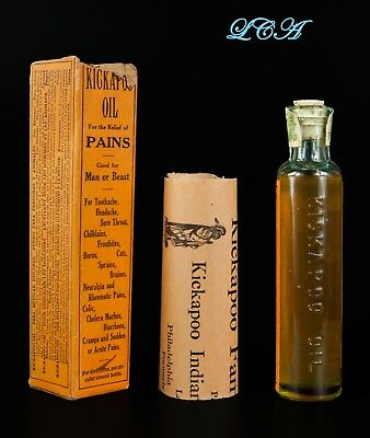 The Real Thing = KICKAPOO INDIAN OIL antique QUACK MEDICINE bottle IN orig. BOX 2