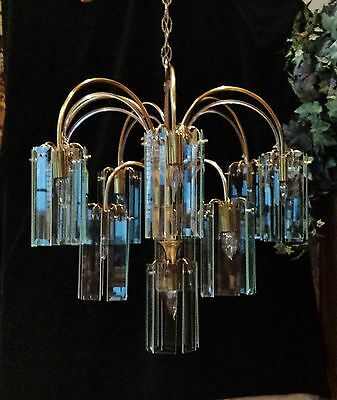 "Large 26"" Mid Century Modern Brass Glass Panel & Acrylic Vine Chandelier 10 Lgt 2"