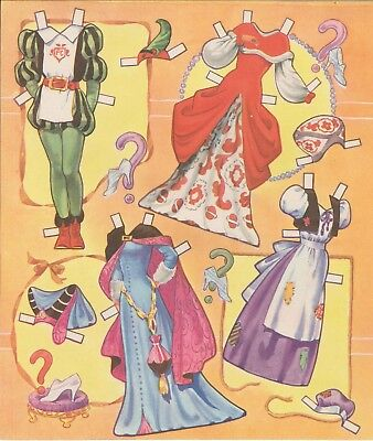 VINTGE 1950 CINDERELLA PAPER DOLL LASER REPRODUCTION~UNCUT LO PR NO1 SELLER
