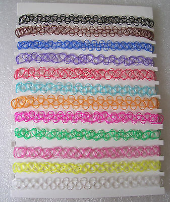 Vintage Retro 1990s Tattoo Stretch Choker Festival Hippy Rainbow Many Colours 2