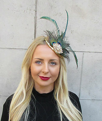 Gold Green Peacock Statement Feather Fascinator Pillbox Races Hat Ascot Vtg 2299 2