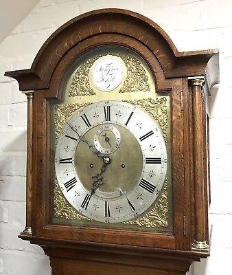~ Antique Brass Dial OAK Grandfather Longcase Clock GOLDSMITHS REGENT ST LONDON 2