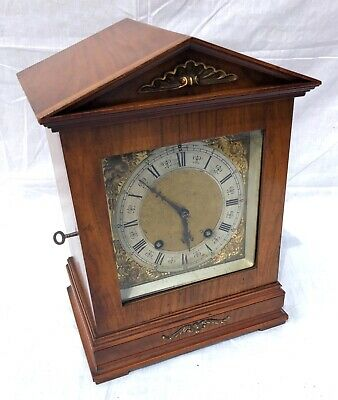 ~ Antique Architectural LENZKIRCH Walnut TING TANG Bracket Mantel Clock WORKING 3