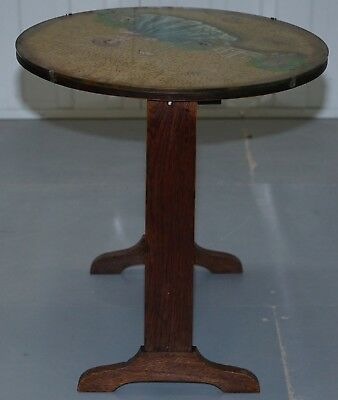 Rare English Oak Tilt Top Side Table With Hand Painted Picture Glass Case Lovely 8