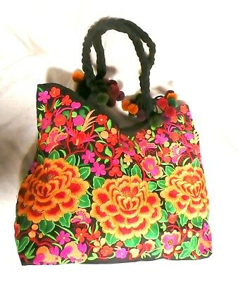 Hand Made Woman Flower Embroidery Ethnic Retro Large Shoulder Bag Purse ToteBag 3