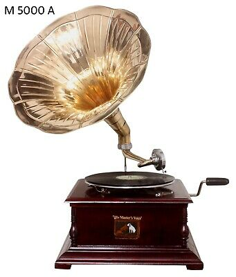 Replica Gramophone Player 78 rpm phonograph Brass Horn HMV Vintage Wind Up 8