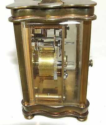 Antique French Bronzed Finish Brass Carriage Clock with Key : Working Order (31) 9