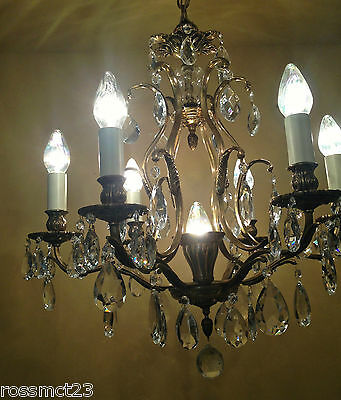 Vintage Lighting matched pair 1960s Hollywood Regency crystal chandeliers 5