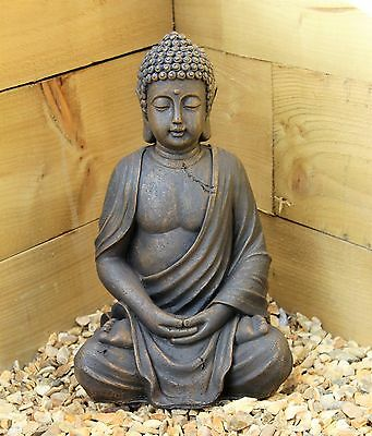 Large 39cm Sitting Buddha Stone Effect Garden Outoor Indoor Statue Ornament Thai