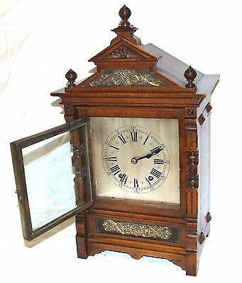Antique Oak & Brass TING TANG Bracket Mantel Clock : CLEANED & SERVICED (a60) 5