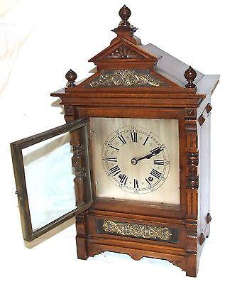 Antique Oak & Brass TING TANG Bracket Mantel Clock : CLEANED & SERVICED (a60) 5
