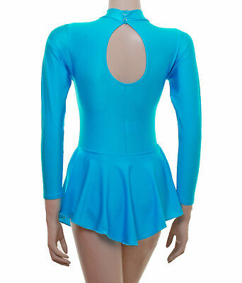 Ice Skating Dress RIPPLE KINGFISHER LYCRA + METALIC- ALL SIZES AVAILABLE-(S108)