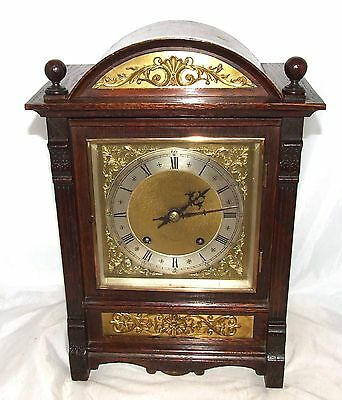 Antique Oak & Brass TING TANG Bracket Mantel Clock WINTERHALDER HOFFMEIER W & H 2