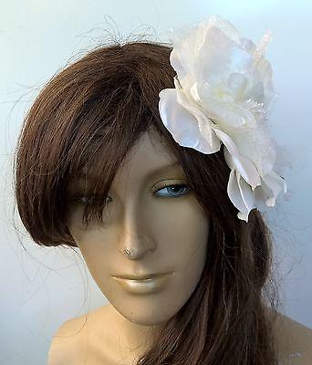 ivory satin flower fascinator millinery burlesque wedding hat bridal race 3