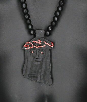 Large Wooden Jesus Pendant Necklace Christ Face Bead With Red Crystals 3 12