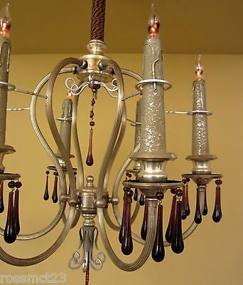 Vintage Lighting matched pair extraordinary 1920s silver chandeliers 5
