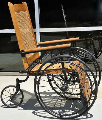 Antique Cane Back Wheelchair Oak Metal Three Wheel Chair Old 520 C Adjustable 8